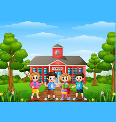 Happy school children stand vector
