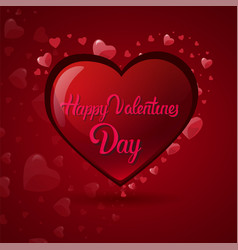 happy valentine day lettering in heart shape cute vector image