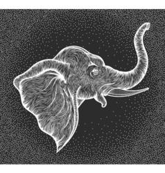 Head of elephant in profile line art boho design vector image