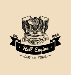 Hell engine vintage motorcycle logo biker vector