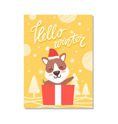 hello winter cute puppy on vector image