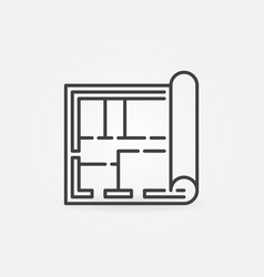 house plan or blueprint thin line concept vector image