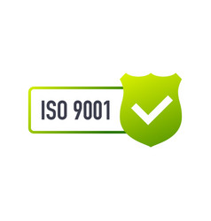 Iso 9001 certified badge icon certification stamp vector