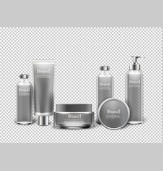 Isolated luxury cosmetic products in bottles vector