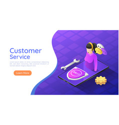 isometric web banner female customer service vector image