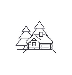 Log cabin line icon sign on vector