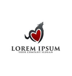 love wolf logo design concept template vector image