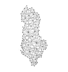 map of albania from polygonal black lines vector image