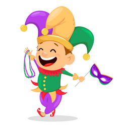 Mardi gras jester holding necklaces and mask vector