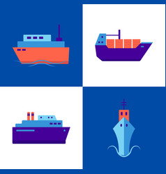 marine collection ship icons in flat style vector image
