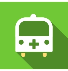 Medical Bus Flat Long Shadow Square Icon vector
