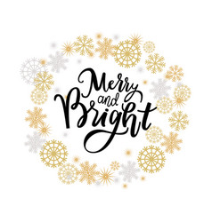 Merry and bright print lettering text vector