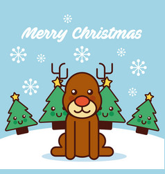 merry christmas cute reindeer sitting trees vector image