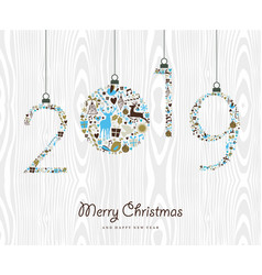 Merry christmas happy new year 2019 retro ornament vector