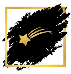Meteor shower sign golden icon at black vector
