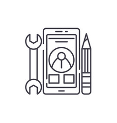 mobile development line icon concept mobile vector image