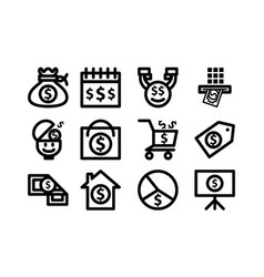 money template icon set vector image