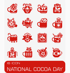 national cocoa day icon set vector image