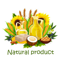 Natural vegetable oil and butter vector