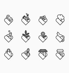 outline lover icon set vector image
