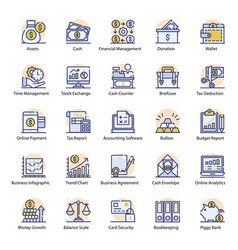 Pack accounting flat icons vector