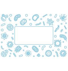 pathogen blue horizontal frame outline vector image
