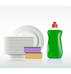 Plates and a bottle with detergent isolated on vector