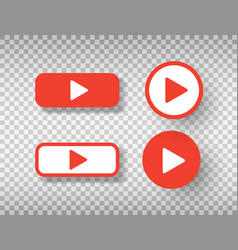 play button icons set isolated on transparent vector image