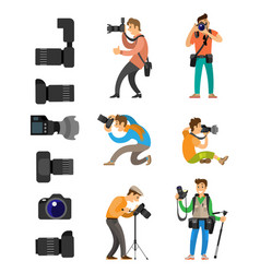 professional photographing gear flash lights set vector image