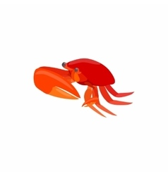 Red crab with big claws icon cartoon style vector