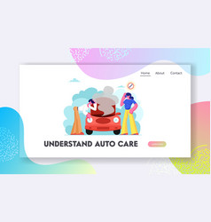 Road accident with broken car website landing page vector