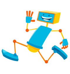 running robot cartoon comic character vector image