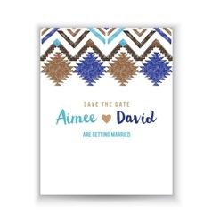 Save the date card with tribal ornaments vector image