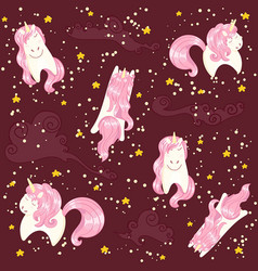 Seamless unicorns pattern vector