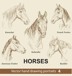 Set hand drawing horses 4 vector