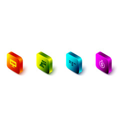 Set isometric web and graphic design front end vector