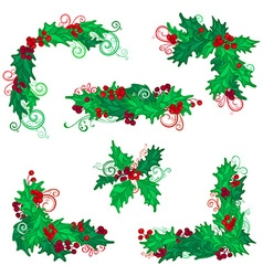 Set of Christmas holly berries design elements vector
