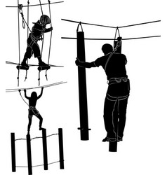 Set of silhouettes in a rope park vector