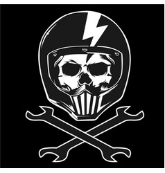 skull wrench helmet vector image