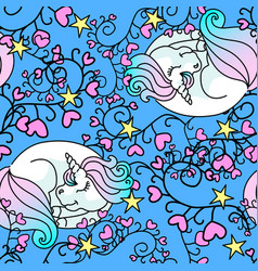 sleeping little unicorn seamless pattern blue vector image