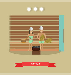 Spa procedure sauna concept in vector