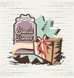Special discount label with gift retro style vector