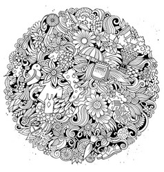 spring hand drawn doodles vector image