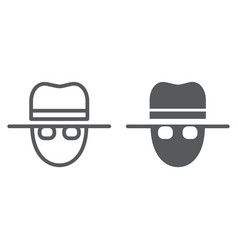 spy line and glyph icon private and detective vector image