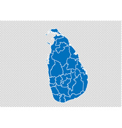Sri lanka map - high detailed blue map with vector