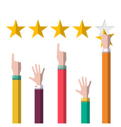 stars rating with hands customer satisfaction vector image