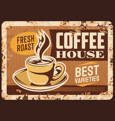 steaming coffee cup rusty metal plate vector image