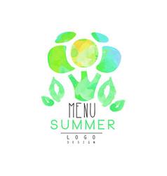 summer menu logo design element for healthy food vector image