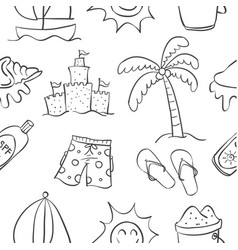 Summer object of doodle collection vector