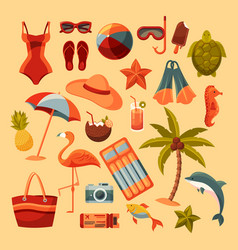 summer or sea elements isolated on background vector image